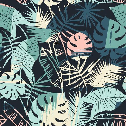 Sin fisuras patrón exótico con plantas tropicales y antecedentes artísticos. vector
