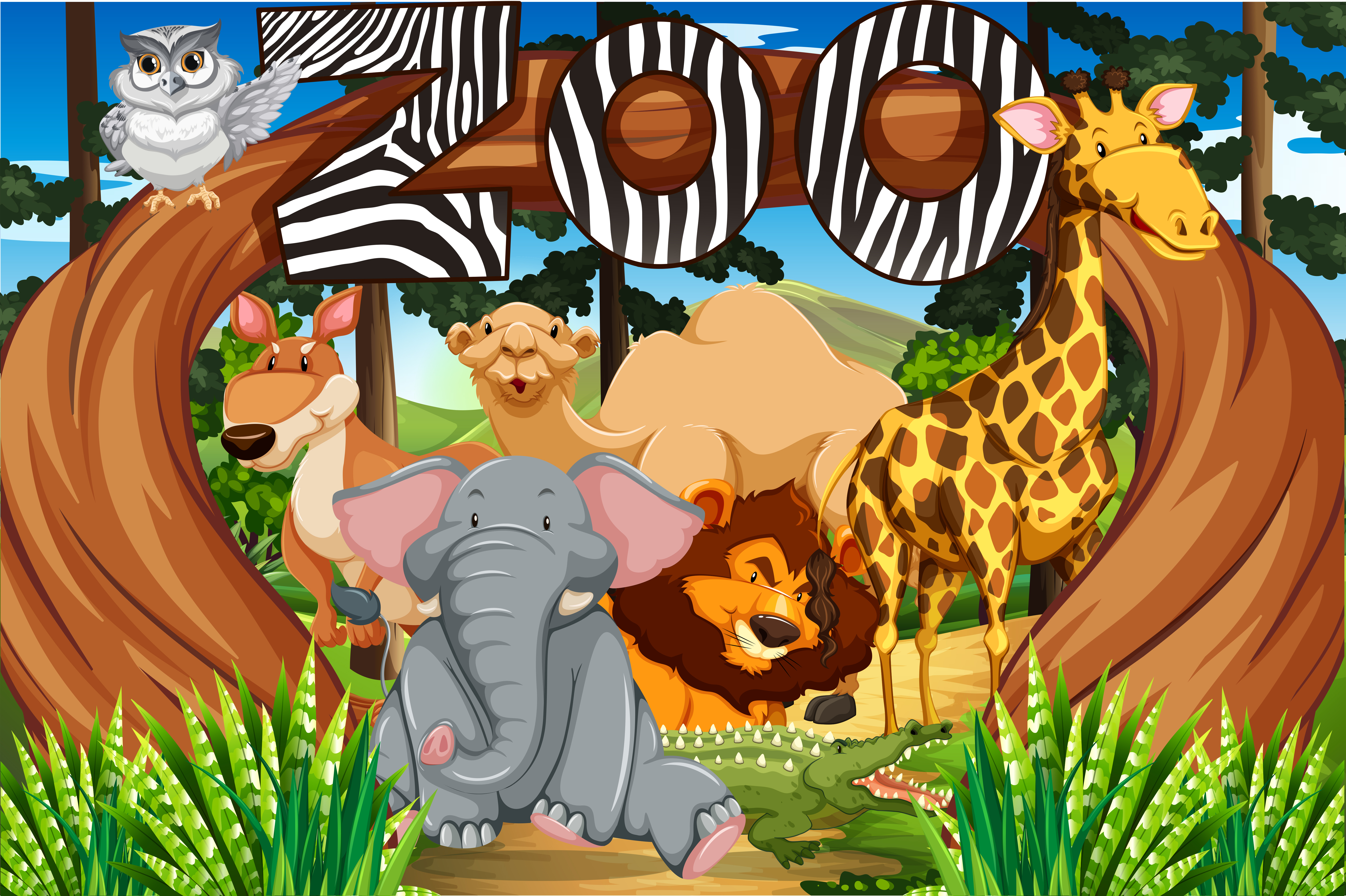 Wild animals at the zoo entrance Download Free Vectors