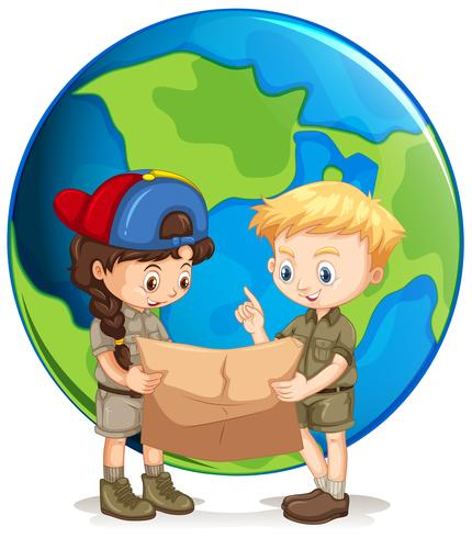 Boy and Girl Scouts Reading Map