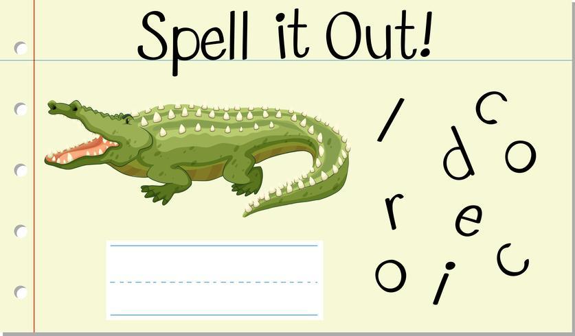 Spell English word crocodile vector