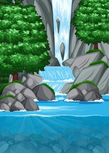 Waterfall into pond scene - Download Free Vector Art, Stock Graphics & Images
