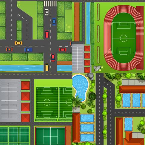 Four landscapes from top view vector