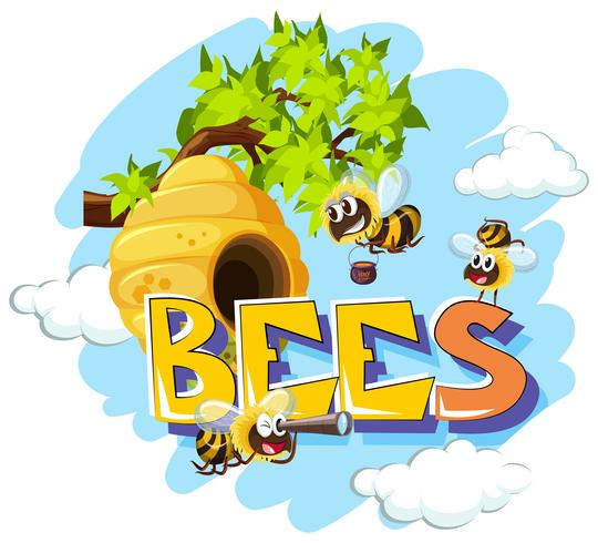 Bienen fliegen im Bienenstock