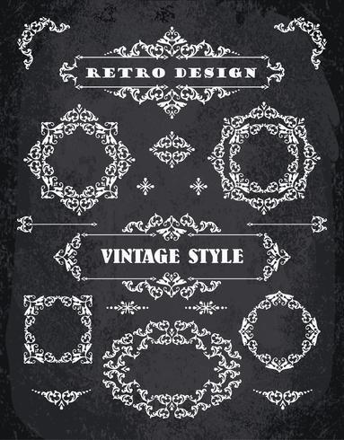 Set of Retro Vintage Badges, Frames, Labels and Borders. vector