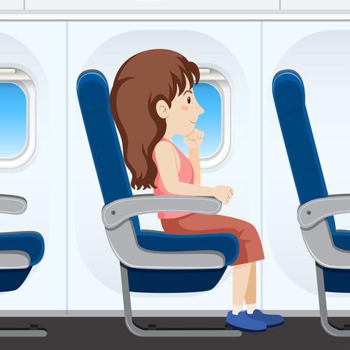 Flicka på flygplanssätet