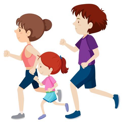 Uma família correndo juntos