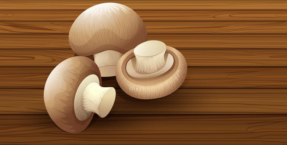 Ätlig svamp på träbakgrund