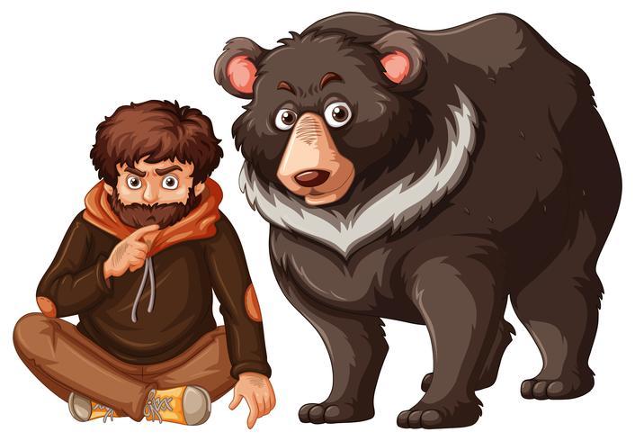 Man och grizzly björn på vit bakgrund