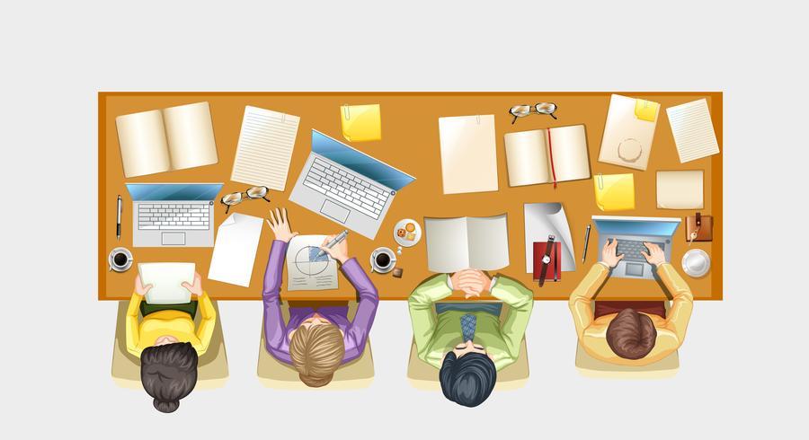 Pessoas, trabalhando, escrivaninha