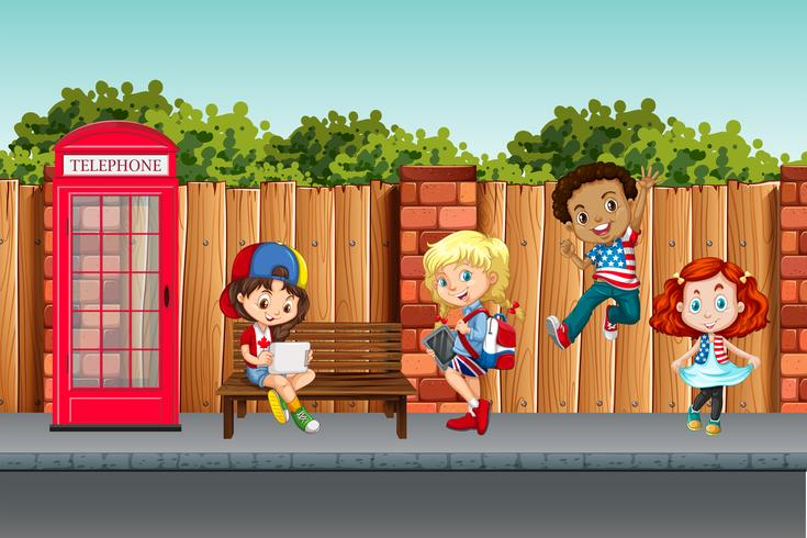 International children in town vector