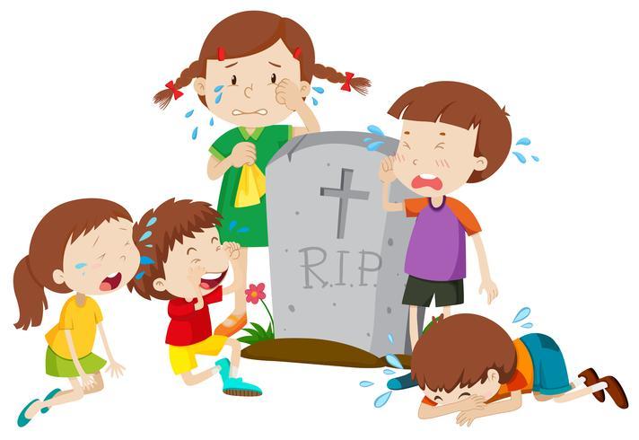 Escena de lápida con niños llorando