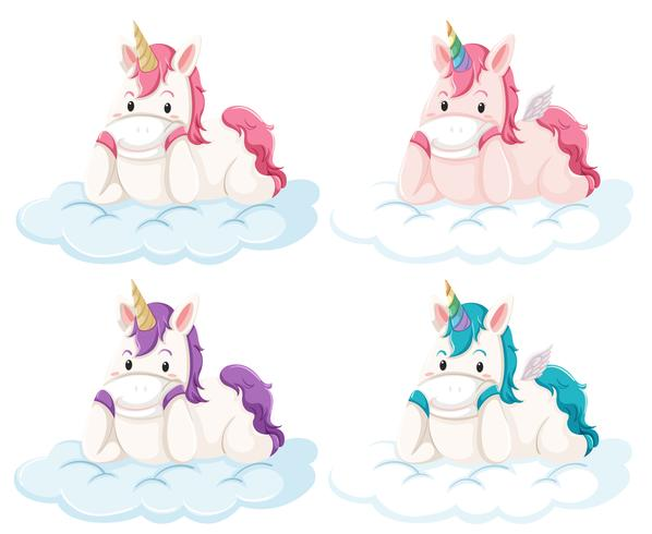 Set of unicorn on cloud