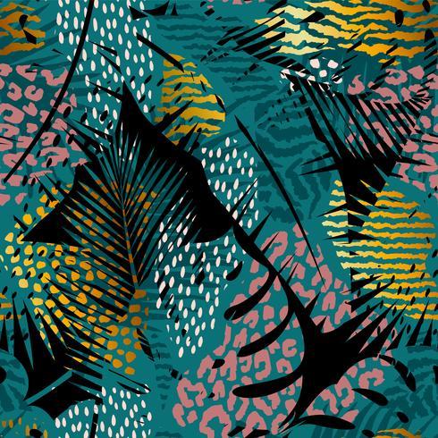 Modelo exótico sin costura con estampados de palmeras y animales.