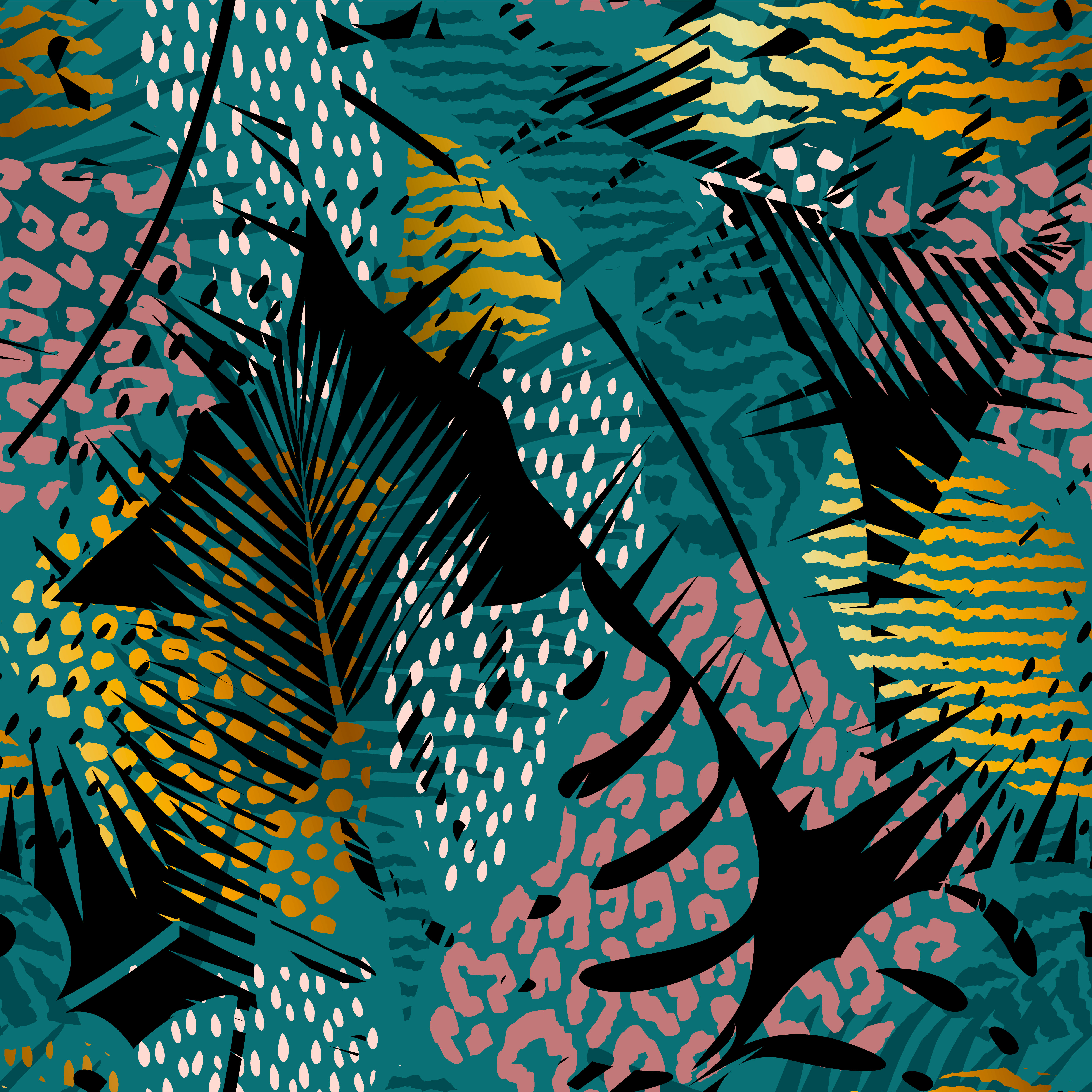 Trendy Seamless Exotic Pattern With Palm And Animal Prints