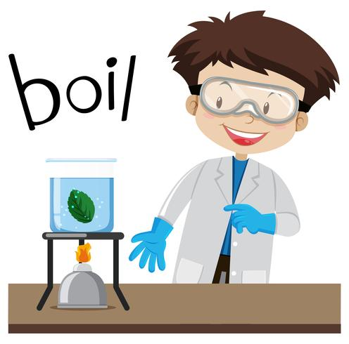Science experiment and word boil