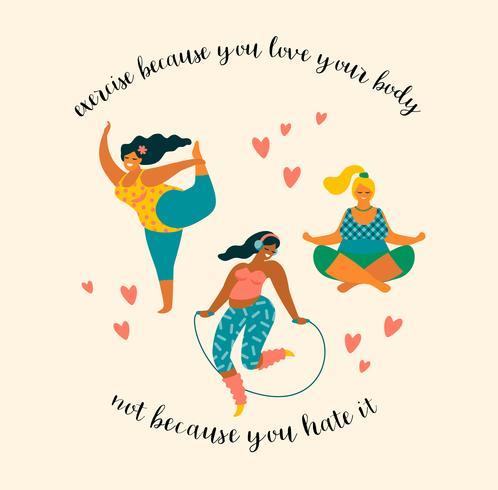 Corpo positivo. Happy plus size ragazze e stile di vita attivo.