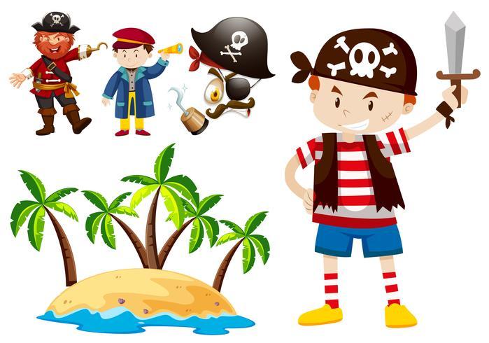 Pirata y tripulación con escena isleña.