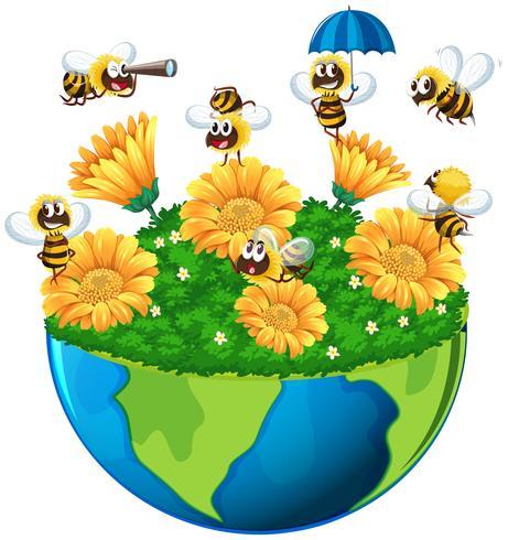 Abelhas, voando, jardim, terra