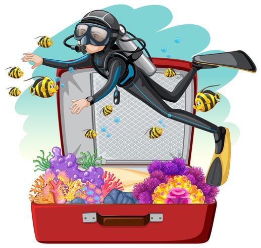 Um, mergulhador, ligado, a, bagagem