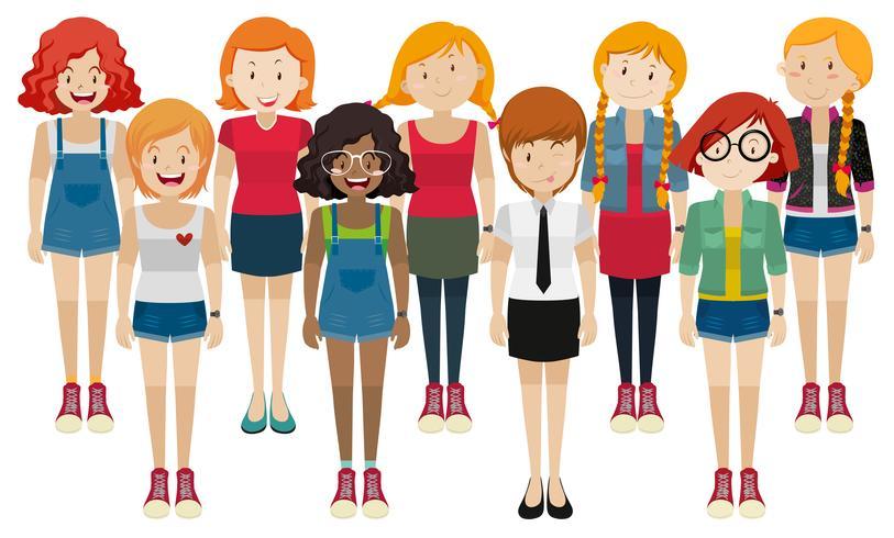 Kvinnor i olika kostymer