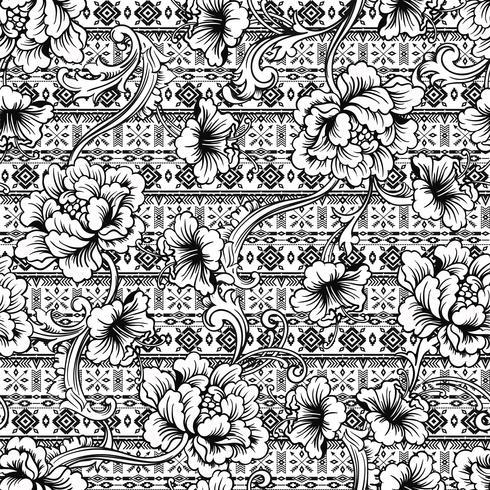 Eclectisch stoffen naadloos patroon. Etnische achtergrond met barok ornament.