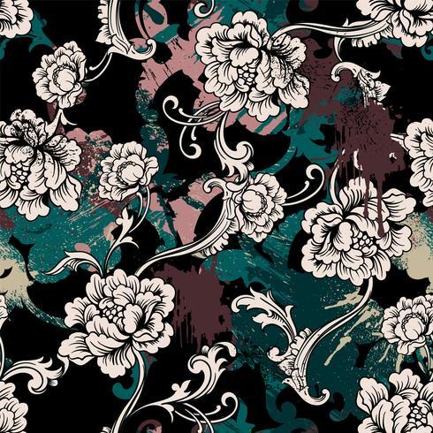 Eklektiskt sömlöst mönster med sprayfärg och barock prydnad.