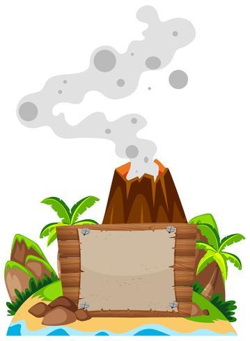 Zeichenschablone mit Vulkan im Hintergrund