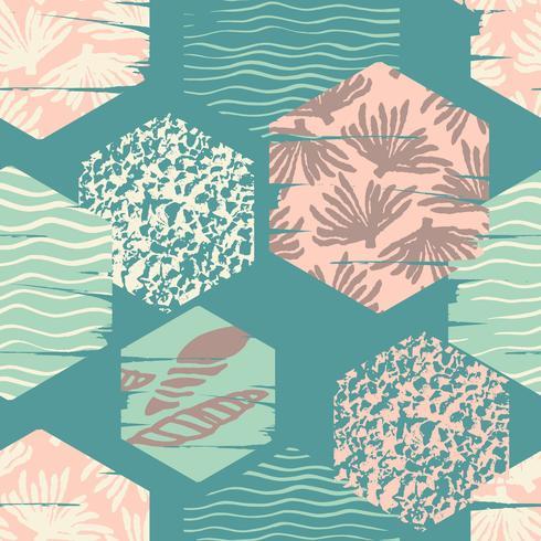 Trendigt havs sömlöst mönster med handtextur och geometriska element