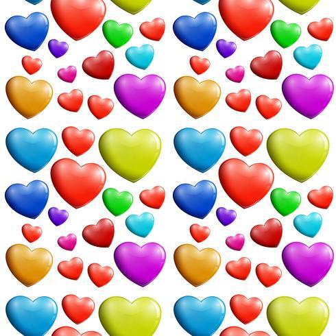 Um padrão de coração colorido sem emenda