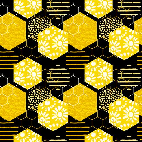Sem costura padrão geométrico com favo de mel. Mão na moda desenhado texturas.