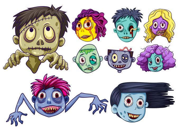 Satz von Zombieköpfen