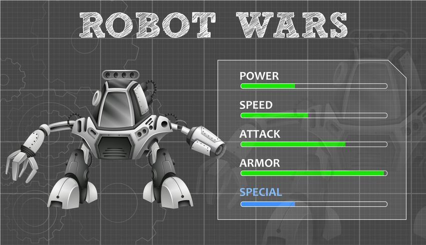 Design de robô com muitos recursos