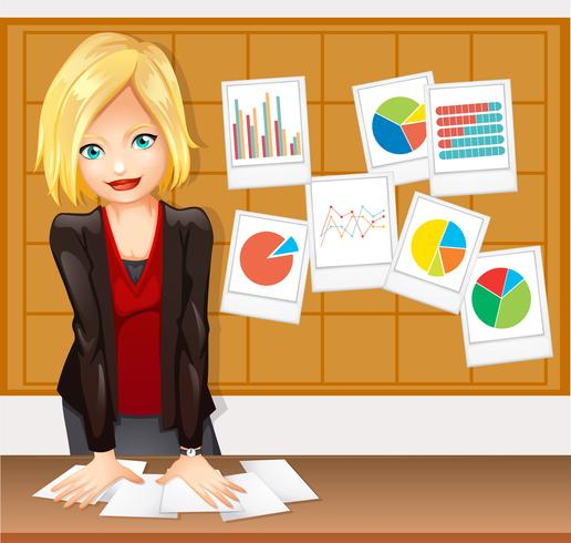 Businesswoman and different types of charts on the wall