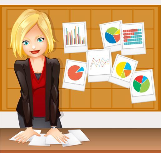 Empresária e diferentes tipos de gráficos na parede