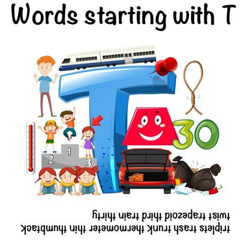 Pädagogisches Poster für Wörter, die mit T beginnen