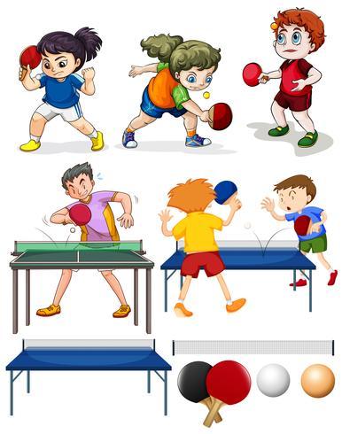 Beaucoup de gens jouent au tennis de table