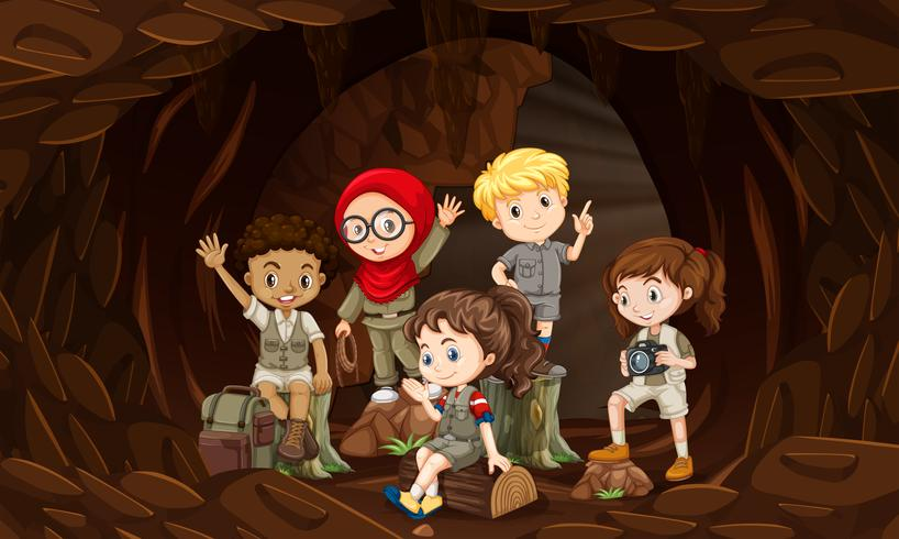 A group of interational kids in cave
