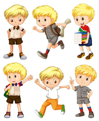 Boy with blond hair in different actions