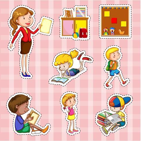 Juego de pegatinas con alumnos y profesor.