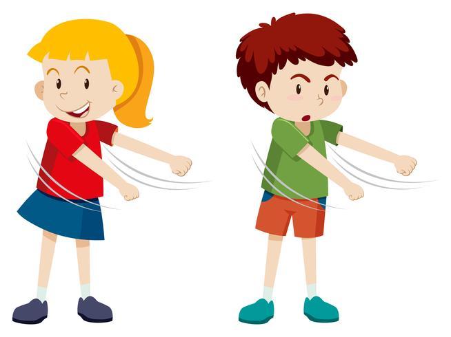Boy and girl floss dance