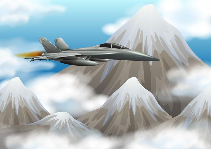 Fight jet flying over the mountain