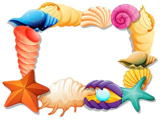 Design de moldura com conchas e estrelas do mar
