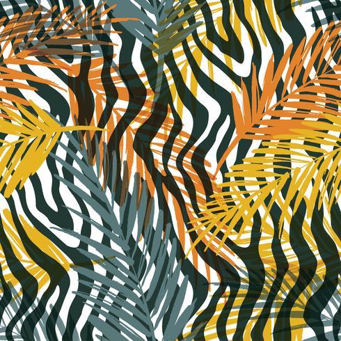 Modèle exotique sans soudure avec des feuilles de palmier et un motif animal.