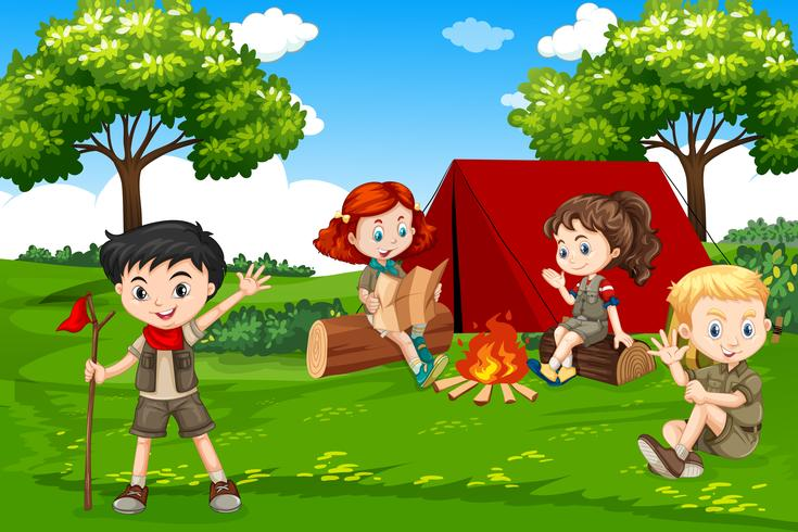Barn camping i naturen