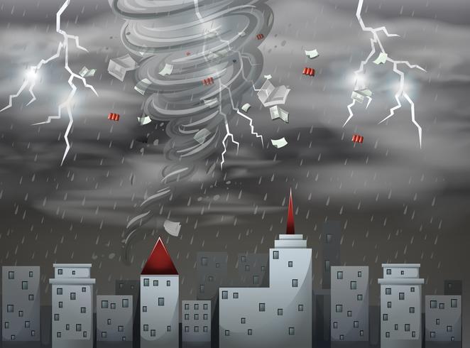 Stadtlandschaft Tornado und Sturmszene