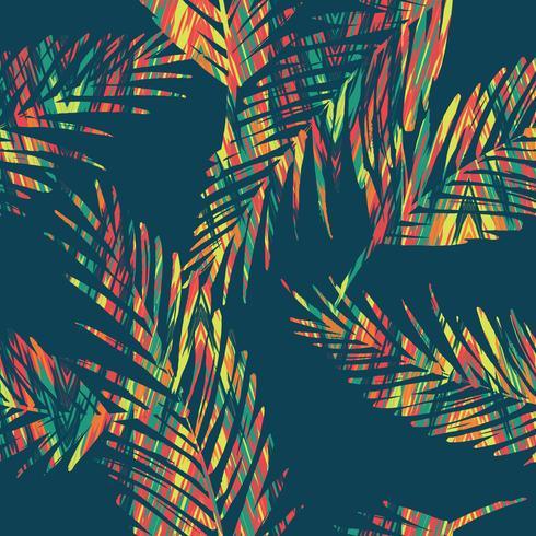 Sin fisuras patrón exótico con hojas de palma. vector