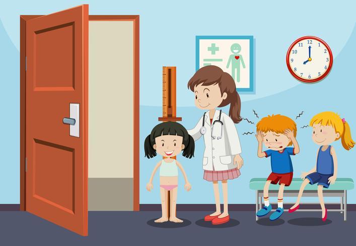 Children getting medical examinations