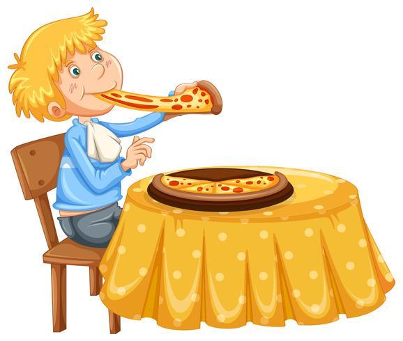 Um homem comendo pizza no fundo branco