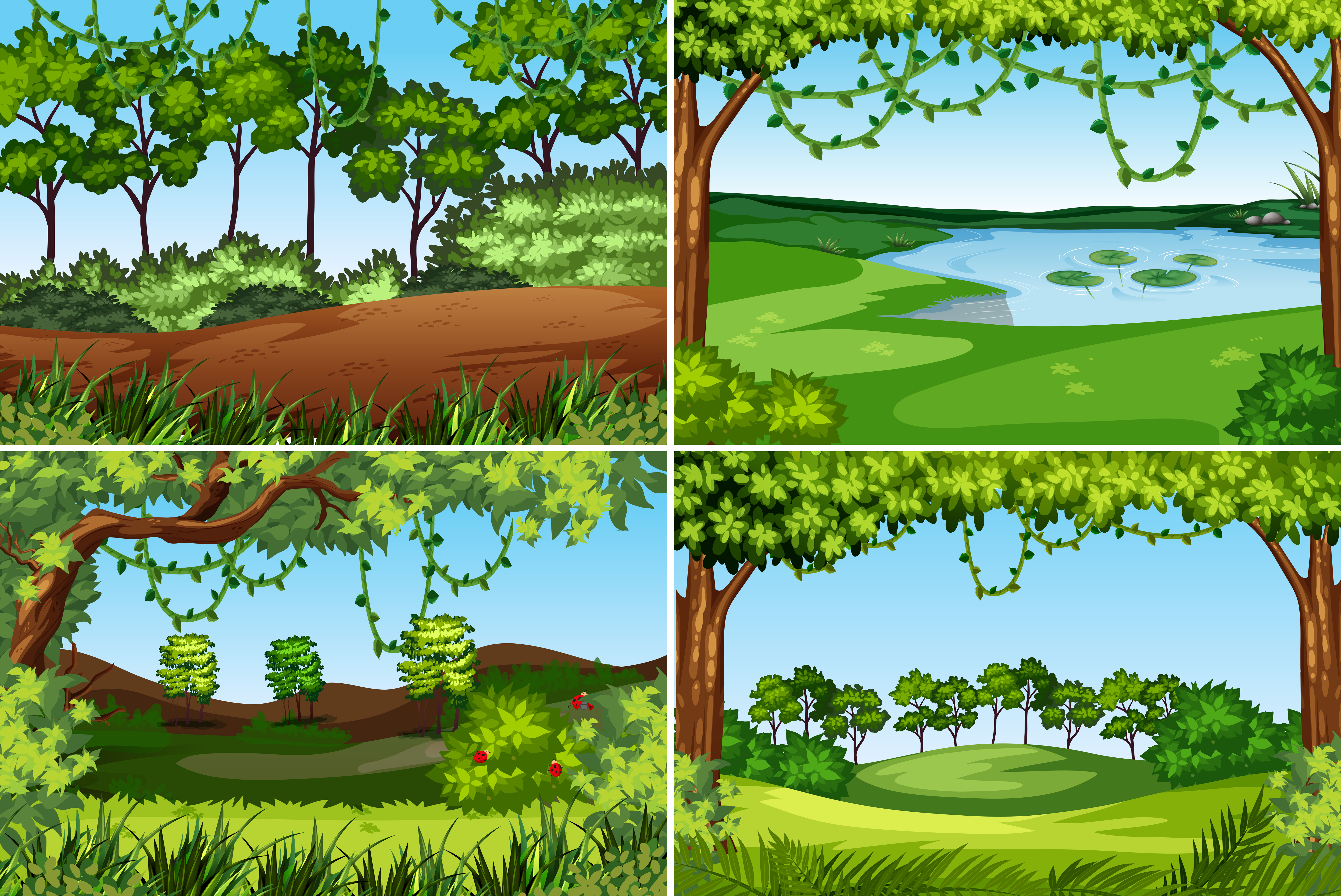 Set of nature background - Download Free Vectors, Clipart ...