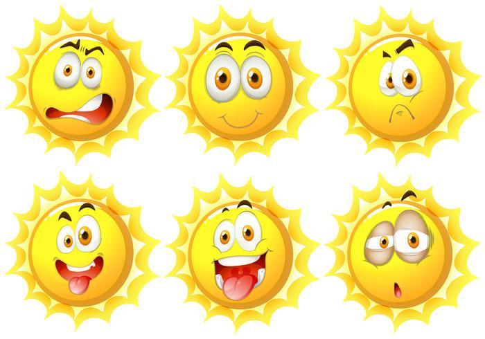 Sol com diferentes expressões faciais